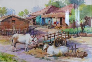 Village-7-Rural-Life-Painting-by-Chitra-Vaidya